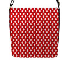 Red Circular Pattern Flap Messenger Bag (l)  by Jojostore