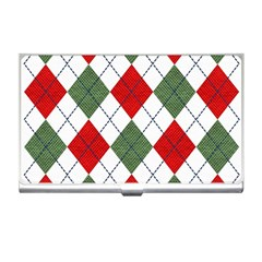 Red Green White Argyle Navy Business Card Holders by Jojostore