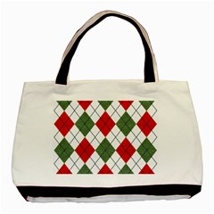 Red Green White Argyle Navy Basic Tote Bag by Jojostore