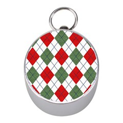 Red Green White Argyle Navy Mini Silver Compasses by Jojostore