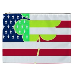 Usa Ireland American Flag Shamrock Irish Funny St Patrick Country Flag  Cosmetic Bag (xxl)  by yoursparklingshop