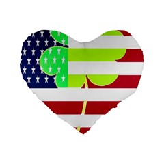 Usa Ireland American Flag Shamrock Irish Funny St Patrick Country Flag  Standard 16  Premium Heart Shape Cushions by yoursparklingshop