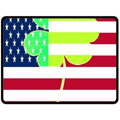 Usa Ireland American Flag Shamrock Irish Funny St Patrick Country Flag  Double Sided Fleece Blanket (large)  by yoursparklingshop