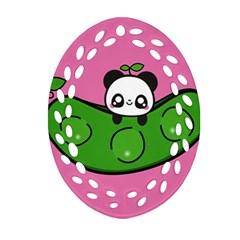 Edamame Panda Pink Cute Animals Oval Filigree Ornament (2 Side)  by Jojostore