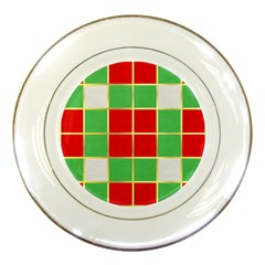 Christmas Fabric Textile Red Green Porcelain Plates by Jojostore