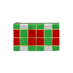 Christmas Fabric Textile Red Green Cosmetic Bag (small)  by Jojostore