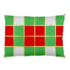 Christmas Fabric Textile Red Green Pillow Case (two Sides) by Jojostore
