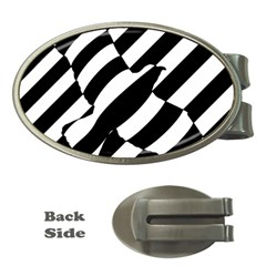 Flaying Bird Black White Money Clips (oval)  by Jojostore