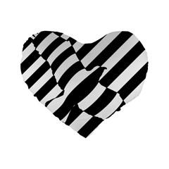 Flaying Bird Black White Standard 16  Premium Flano Heart Shape Cushions by Jojostore