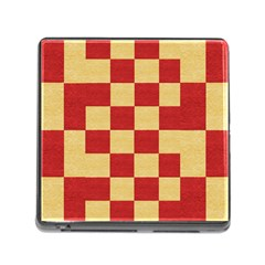 Fabric Geometric Red Gold Block Memory Card Reader (square)