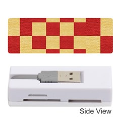 Fabric Geometric Red Gold Block Memory Card Reader (Stick)  by Jojostore