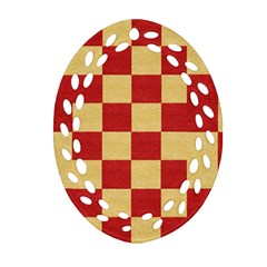 Fabric Geometric Red Gold Block Oval Filigree Ornament (2 Side)  by Jojostore