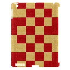 Fabric Geometric Red Gold Block Apple Ipad 3/4 Hardshell Case (compatible With Smart Cover) by Jojostore