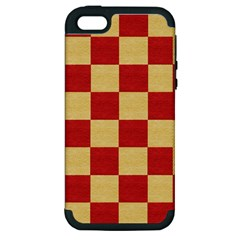 Fabric Geometric Red Gold Block Apple Iphone 5 Hardshell Case (pc+silicone) by Jojostore