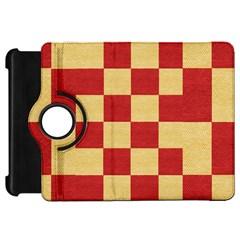 Fabric Geometric Red Gold Block Kindle Fire Hd 7  by Jojostore