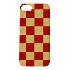 Fabric Geometric Red Gold Block Apple Iphone 5s/ Se Hardshell Case by Jojostore