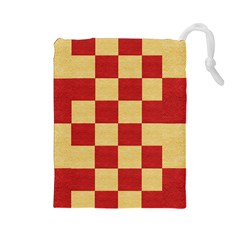 Fabric Geometric Red Gold Block Drawstring Pouches (large)  by Jojostore