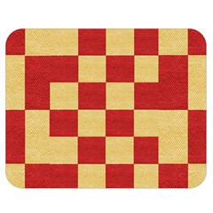 Fabric Geometric Red Gold Block Double Sided Flano Blanket (medium)  by Jojostore