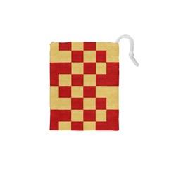 Fabric Geometric Red Gold Block Drawstring Pouches (xs)  by Jojostore