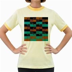 Fabric Textile Texture Gold Aqua Women s Fitted Ringer T Shirts by Jojostore