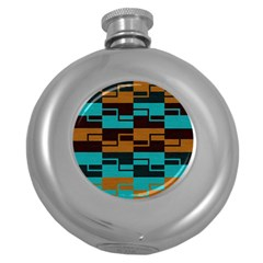 Fabric Textile Texture Gold Aqua Round Hip Flask (5 Oz) by Jojostore