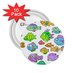 Fishes Col Fishing Fish 2 25  Buttons (10 Pack)  by Jojostore