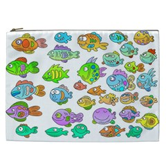Fishes Col Fishing Fish Cosmetic Bag (xxl)  by Jojostore