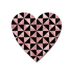 Triangle1 Black Marble & Red & White Marble Magnet (heart) by trendistuff