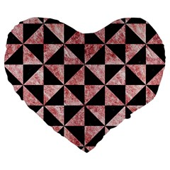 Triangle1 Black Marble & Red & White Marble Large 19  Premium Flano Heart Shape Cushion by trendistuff
