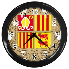 Coat Of Arms Of Andorra Wall Clocks (black) by abbeyz71
