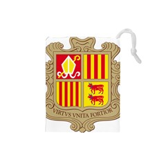 Coat Of Arms Of Andorra Drawstring Pouches (small)  by abbeyz71