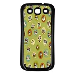 Owl Round Green Samsung Galaxy S3 Back Case (black) by Jojostore