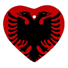 Coat Of Arms Of Albania Heart Ornament (2 Sides) by abbeyz71