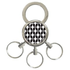 Black Flower Accents 3 Ring Key Chains by Jojostore