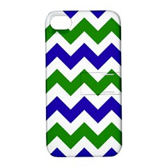 Blue And Green Chevron Apple Iphone 4/4s Hardshell Case With Stand by Jojostore