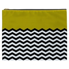 Colorblock Chevron Pattern Mustard Cosmetic Bag (xxxl)  by Jojostore