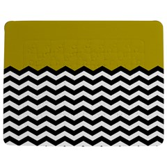 Colorblock Chevron Pattern Mustard Jigsaw Puzzle Photo Stand (rectangular) by Jojostore
