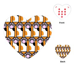 Cute Cat Hand Orange Playing Cards (heart)  by Jojostore