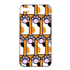 Cute Cat Hand Orange Apple Iphone 4/4s Seamless Case (black) by Jojostore