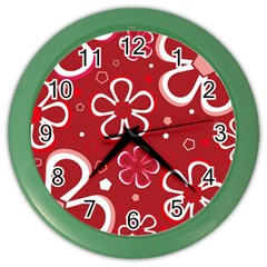 Flower Red Cute Color Wall Clocks by Jojostore