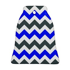 Grey And Blue Chevron Bell Ornament (2 Sides) by Jojostore