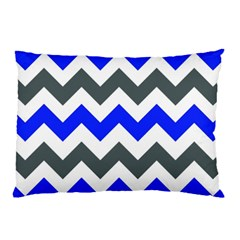 Grey And Blue Chevron Pillow Case (two Sides) by Jojostore
