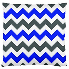 Grey And Blue Chevron Standard Flano Cushion Case (one Side) by Jojostore