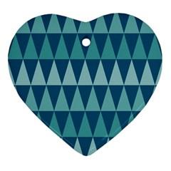 Blues Long Triangle Geometric Tribal Background Ornament (heart)  by Jojostore