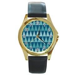 Blues Long Triangle Geometric Tribal Background Round Gold Metal Watch by Jojostore