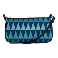 Blues Long Triangle Geometric Tribal Background Shoulder Clutch Bags by Jojostore