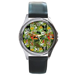 Halloween Pattern Round Metal Watch by Jojostore