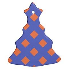 Orange Blue Christmas Tree Ornament (2 Sides) by Jojostore