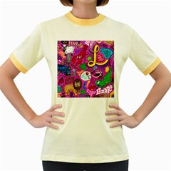 Pattern Monsters Women s Fitted Ringer T Shirts by Jojostore