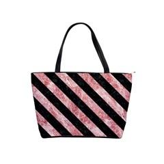 Stripes3 Black Marble & Red & White Marble (r) Classic Shoulder Handbag by trendistuff